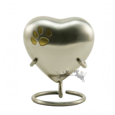 Heart Keepsake Pewter Single Paw